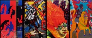"A montage of New York City murals from the cover of ""On the Wall"""